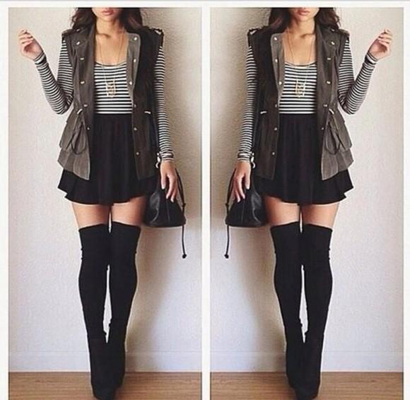 black skater skirt striped black and white  top long black socks