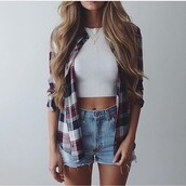 shirt,chequered,style,blouse,cardigan,top,flannel,white crop tops,checkered,grid,crop tops,summer,ripped,blonde hair,blue,white,red,outfit,streetstyle,distressed denim shorts,stripes,striped shirt,navy,denim shorts,plaid shirt,jeans