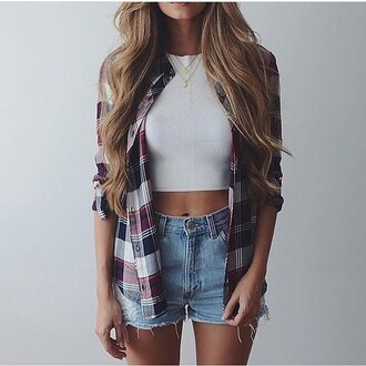 shirt chequered style blouse cardigan top flannel white crop tops checkered grid crop tops summer ripped blonde hair blue white red outfit streetstyle distressed denim shorts stripes striped shirt navy denim shorts plaid shirt jeans