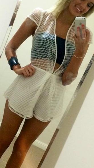 jumpsuit white white jumpsuit v neck mesh hot sexy cute dress short shorts
