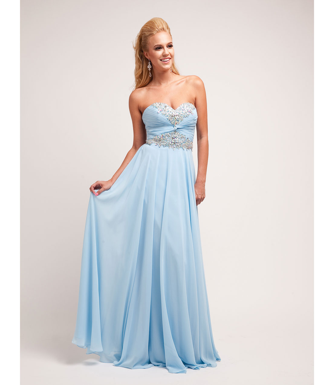 Prom Dresses - Sky Blue Chiffon & Beaded Strapless Gown - Unique ...
