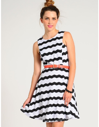 Black Chevron Striped Skater Dress | $15.50 | Cheap Trendy Casual Dresses Chic Discount Fashion for
