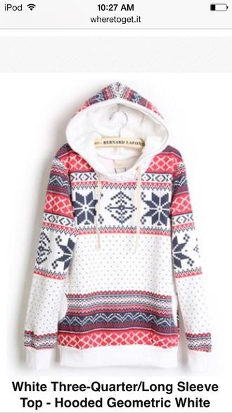 nordic pattern geometric sweatshirt hooded winter sweater