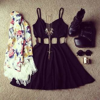 dress scarve scarf.black classy shoes sunglasses bracelets jacket jewels scarf cardigan jewelry glasses black floral jacket little black dress short dress cute cute dress necklace black mini dress floral cardigan black dress cut-out dress spaghetti strap