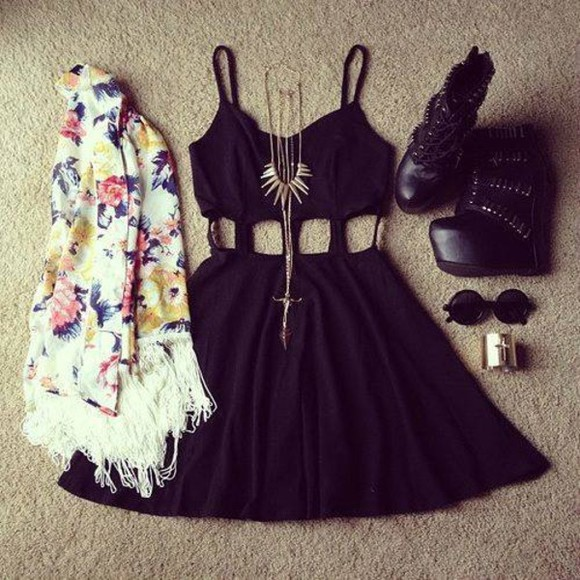 little black dress cut-out dress spaghetti straps dress scarf.black classy shoes sunglasses bracelets jacket jewels scarf cardigan jewels glasses black floral jacket little black dress short dress cute cute dress necklace black mini dress floral cardigan