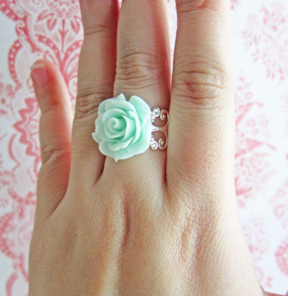 Aqua ring mint flower ring teal ring sisters friendship bff best friends ring pastel green mint ring valentine's day mother's day gift