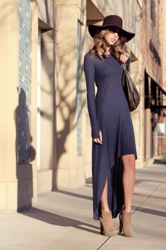 dress navy dress blue dress blue high low high low dress bodycon dress maxi dress clothes hi-low dress long dress sunglasses floppy hat booties shoes fierce hat shoes