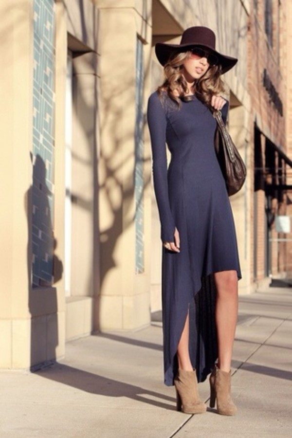 dress navy dress blue dress blue high low high low dress bodycon dress maxi dress dress clothes maxi dress hi-low dress long dress sunglasses floppy hat booties shoes fierce hat shoes