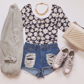shirt flowers skirt fashion cardigan