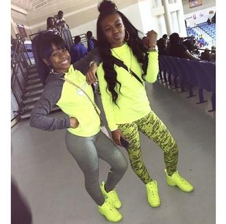 shoes highlighter yellow grey sweater nike air nike jacket nike leggings jacket