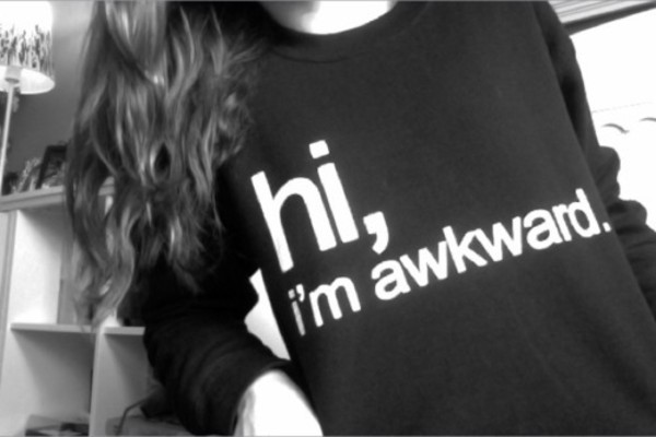 sweater black skreened hi i'm awkward. white shirt awkward cute tumblr hi i'm t-shirt hi i'm awkward sweatshirt top saying hi im awkward black and white black sweater