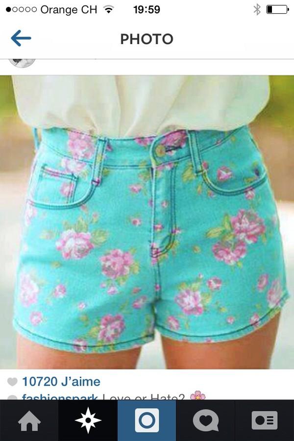 shorts blue#floral#