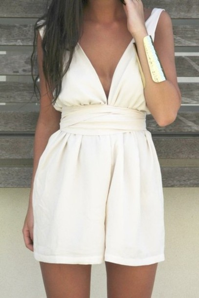 white dress overalls jewels summer dress dress белый(перламутровый) летний комбинезон white romper low back cream romper cream clothes romper low v v neck white