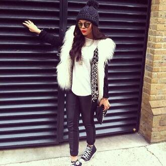 sweater fur beanie high top converse leather leggings pants