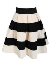 skirt,stripes,black,white,black and white,pleated,a line,a line skirt,white and black skirt,white skirt,high waist skirts,black skirt,sweater