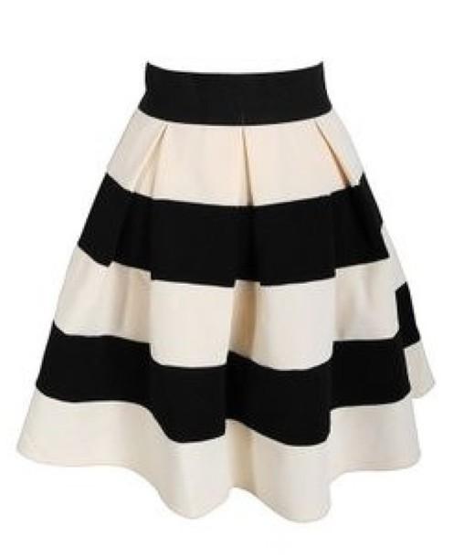 skirt stripes black white black and white pleated a line a line skirt white and black skirt white skirt high waist skirts black skirt sweater