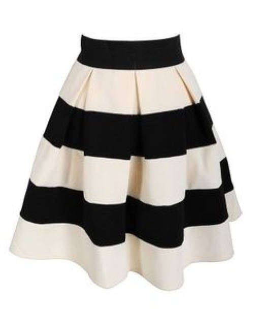 skirt stripes black white black and white pleated a line a line skirt