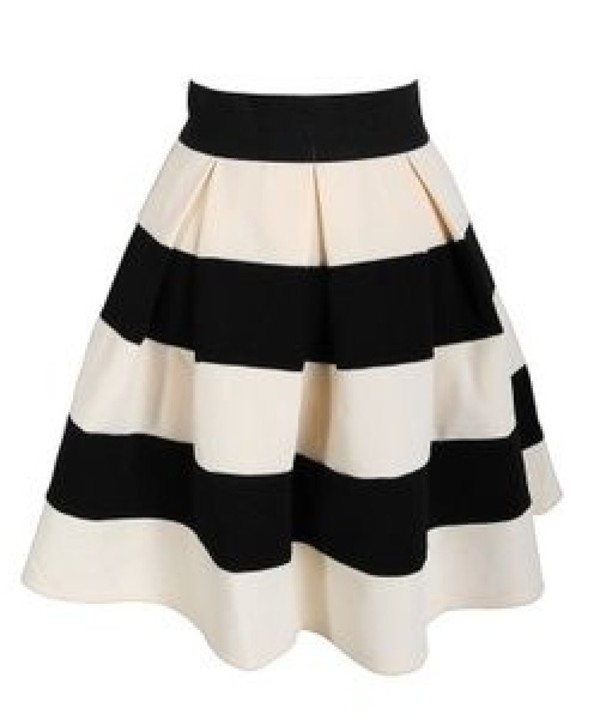 Skirt: stripes, black, white, black and white, pleated, a line, a ...
