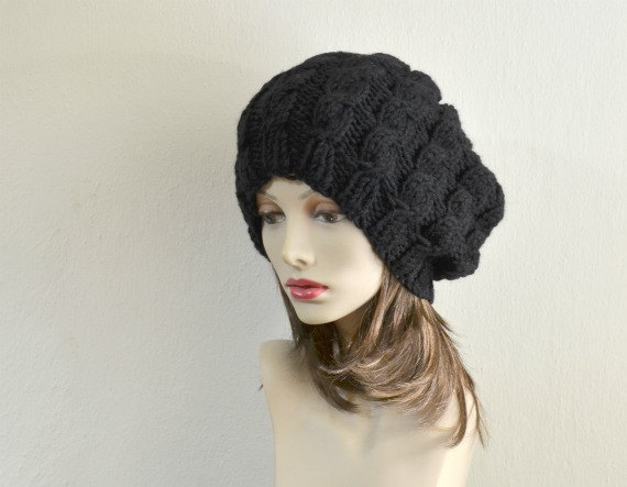 80dd6293284 Hand Knit Hat Cable Women Slouchy Beanie Chunky Beret by Puik