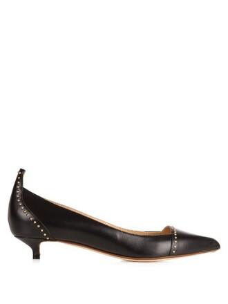 embellished pumps leather black shoes