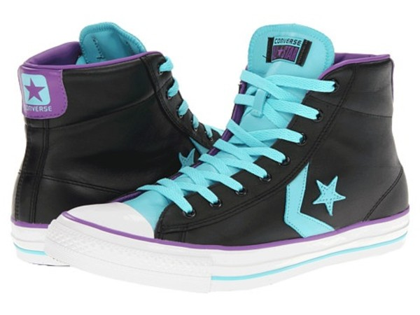 shoes converse high top sneakers shoelaces light blue
