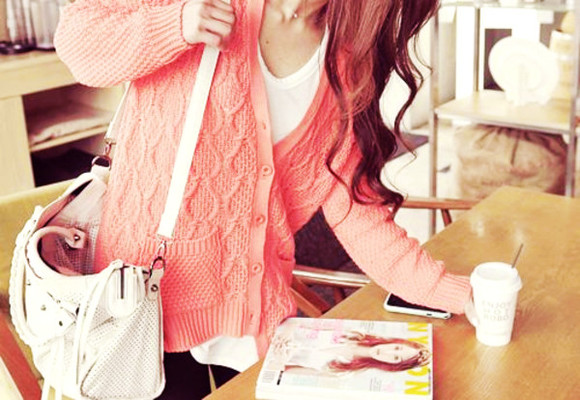 cute adorable girly pink sweater coral cute sweaters pink sweater tumblr tumblr girl coral pink bag