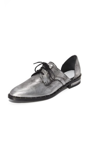 Freda Salvador Wit Lace Up D'Orsay Flats - Anthracite