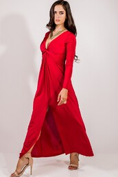 dress,red,ruby,formal,gown,bridesmaid,wedding,long sleeves,evening outfits,prom,reception,maxi,long,elegant