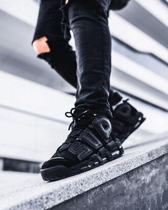shoes supreme x nike air more uptempo black sneakers supreme nike nike shoes nike air sneakers