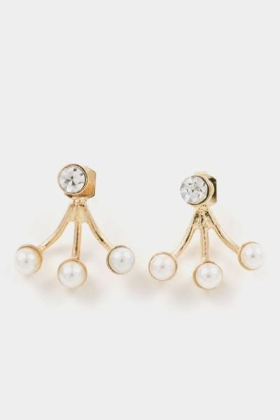 Crystal & pearl fanned gold ear jackets earrings