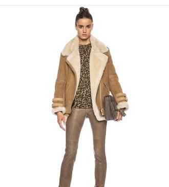 coat camel shearling coat