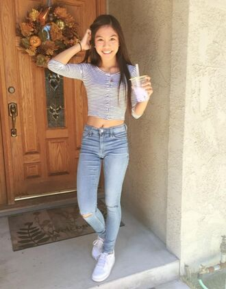 shirt jayka noelle fall outfits teenagers youtuber summer outfits summer cute tumblr casual relax crop tops stripes striped top distressed denim