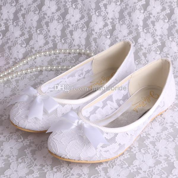 Best arrival ladies white lace ballerina flats bridal wedding online with $28.19/pair