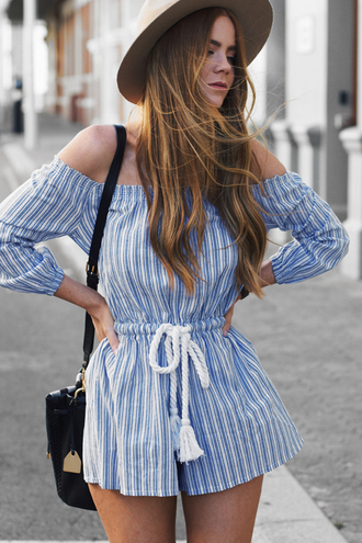 romper striped romper tumblr blue romper long sleeve romper stripes off the shoulder off the shoulder romper bag black bag hat long hair hair brunette spring outfits