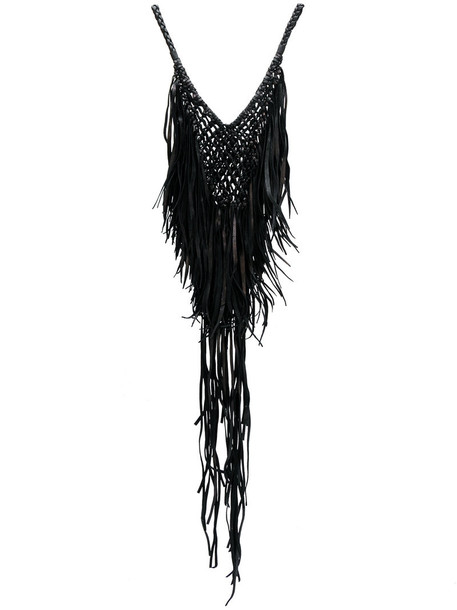 women necklace leather black jewels