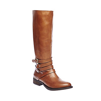 ALBANY COGNAC LEATHER women's boot flat riding boot - Steve Madden