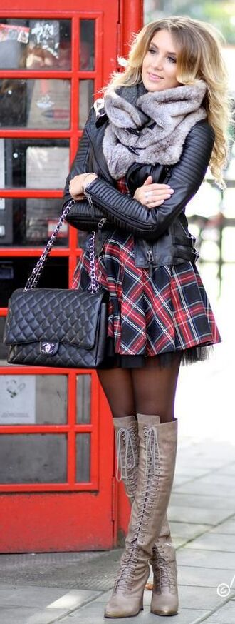 bag chanel purse coat jacket pants scarf dress shoes fall outfits plaid dress boots quilted skirt plaid plaid skirt tartan skirt tartan mini skirt skirt bye schoolgirl tall boots