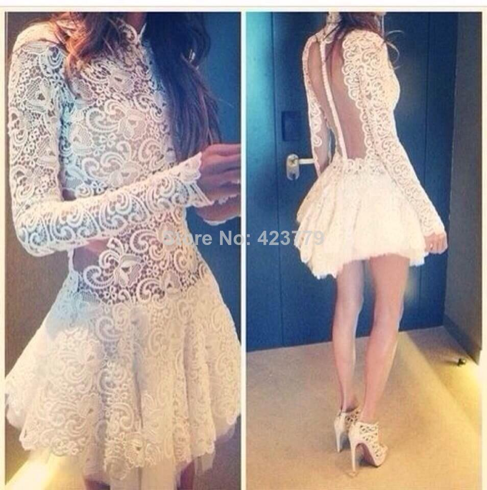 Aliexpress.com : Buy Charmming Sheer Back Party Dress 2014 New Arrival White Long Sleeves Short Lace Prom Evening Dresses Orenda from Reliable dress a dress suppliers on 27 Dress