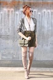 fashion coolture,blogger,jacket,top,velvet over the knee boots,boots,button up skirt,skirt,bag,shoulder bag
