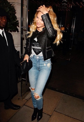 jacket leather jacket candice swanepoel victoria's secret model london jeans ripped jeans high waisted jeans top shoes