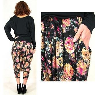 pants floral flowers