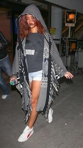 coat,top,cape,rihanna,shorts,shoes,sneakers