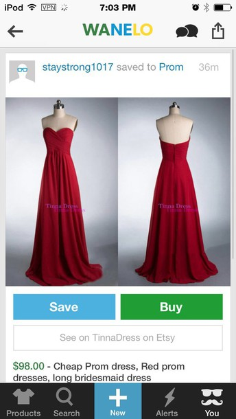 dress red prom gown