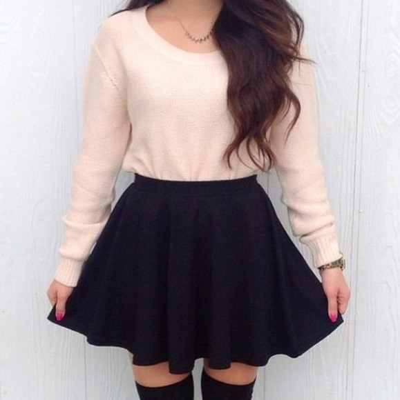 sweater white sweater skirt thigh highs knit sweater cardigan black skirt cream sweater cute sweaters socks