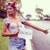 blouse,coachella,crop tops,festival,criss cross,ruffle,hair accessory,top