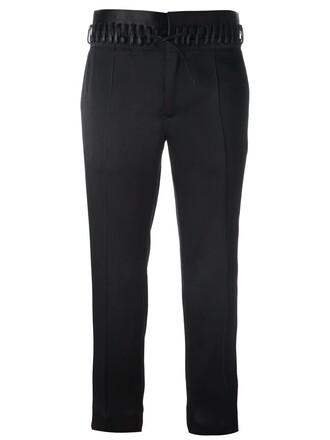 women drawstring cotton black silk pants