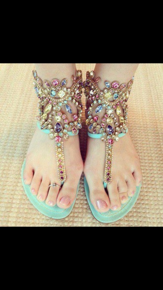 shoes teal turquoise bejeweled beautiful sandals
