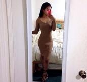 dress,bodycon dress,brown,short,short dress,long sleeves,long sleeve dress,summer dress