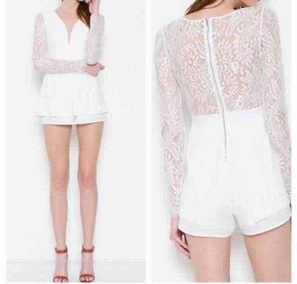 romper lace white cute classy