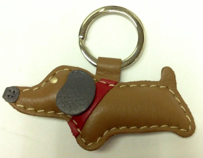 Amazon.com: ili leather brown dog key chain: clothing